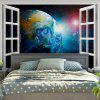 3D Window Scenery Planet Print Wall Hanging Tapestry - COLORMIX