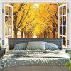 Window Scenery Trees Printed Wall Hanging Tapestry - YELLOW