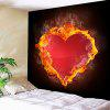 Valentine's Day Fiery Heart Pattern Wall Hanging - RED