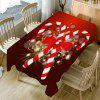 Candy Cane Print Fabric Christmas Table Cloth - RED