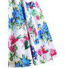 Vintage Floral Printed Fit and Flare Party Dress - WHITE