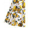 Retro Floral Fit and Flare Swing Dress - YELLOW