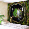 Forest Waterfall Patterned Wall Hanging - GREEN