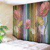 Flower and Wood Board Patterned Wall Hanging - WOOD COLOR