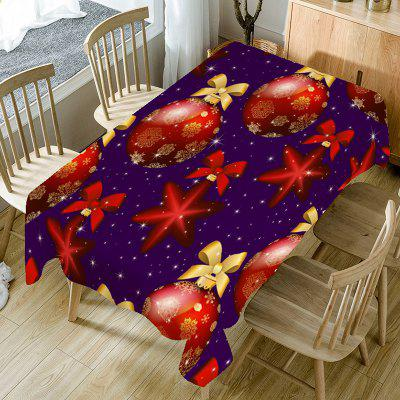 Christmas Ball Bowknot Printed Table Cloth