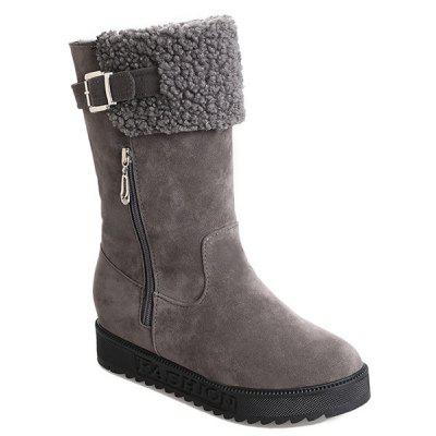 Buckle Strap Low Heel Mid Calf Boots