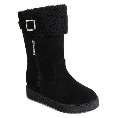 Buy BLACK 35 Buckle Strap Low Heel Mid Calf Boots for $31.27 in GearBest store