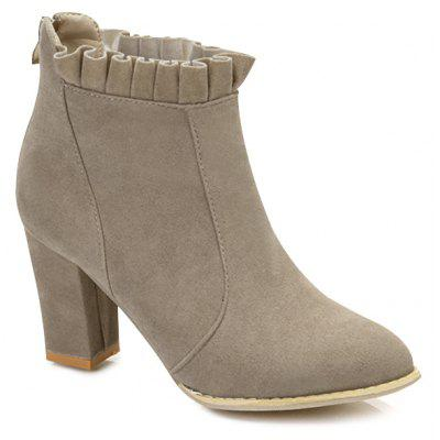Point Toe Ruffle Ankle Boots