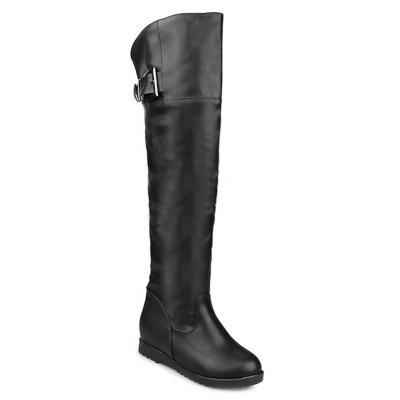 Wedge Buckled Over the Knee High Boots