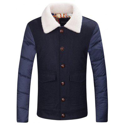 Borg Collar Flap Pocket Buttoned Padded Jacket