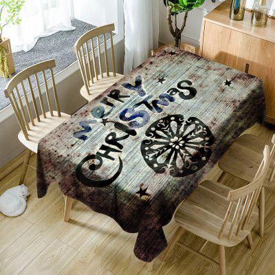 Merry Christmas Letter Print Waterproof Fabric Table Cloth