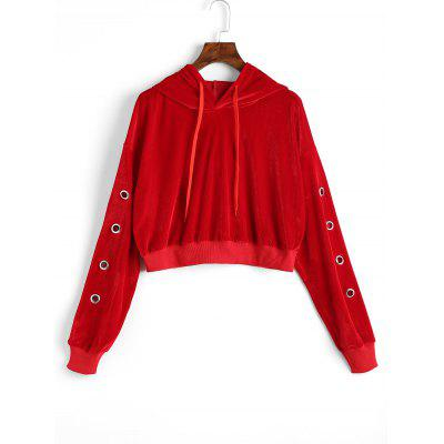Hollow Out Velvet Cropped Hoodie
