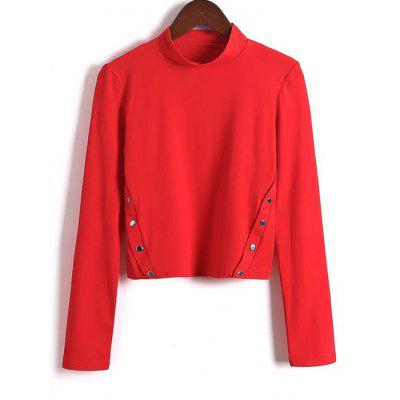 Side Buttoned Stand Neck Top