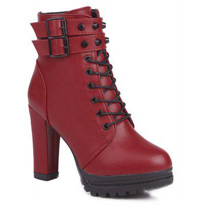 Buckle Strap Lace Up High Heel Boots