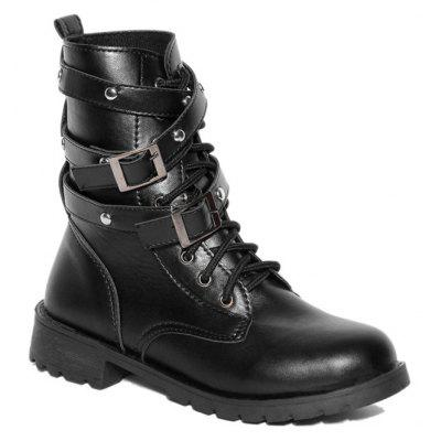 PU Leather Lace Up Buckle Strap Boots
