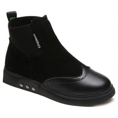 Elastic Side Panel Flat Ankle Boots