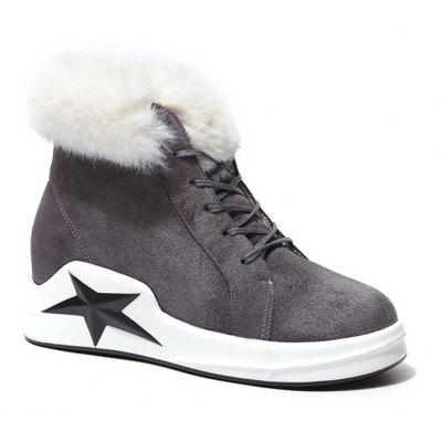 Wedge Heel Star Patched Faux Fur Ankle Boots
