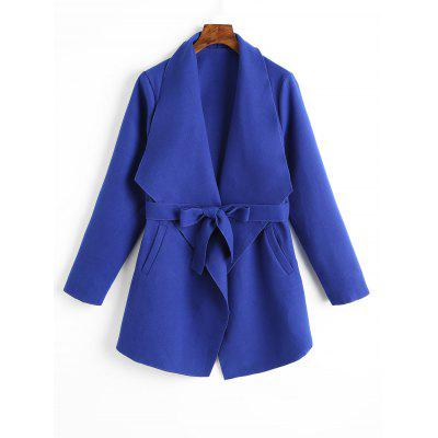 Belted Plain Coat with Pockets