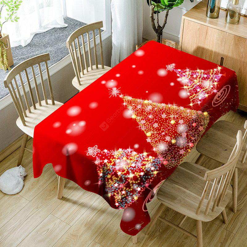 Neon Christmas Trees Print Waterproof Fabric Table Cloth