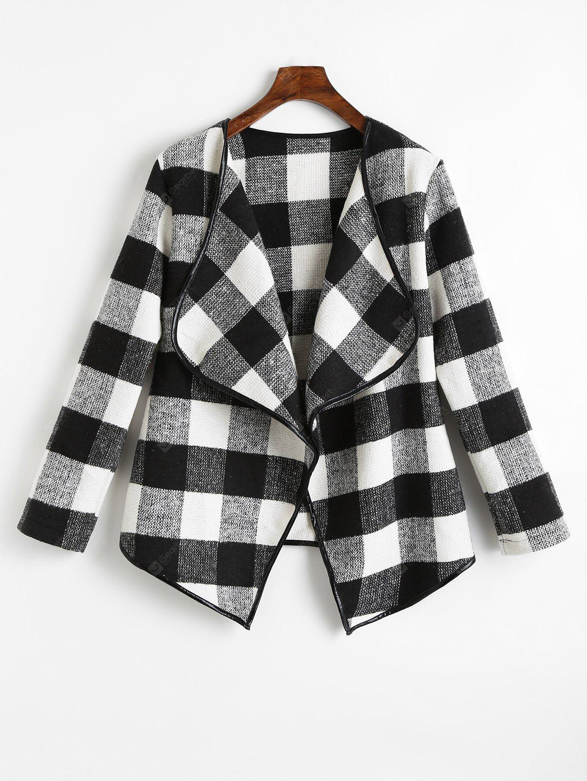 Draped Checked Asymmetric Coat