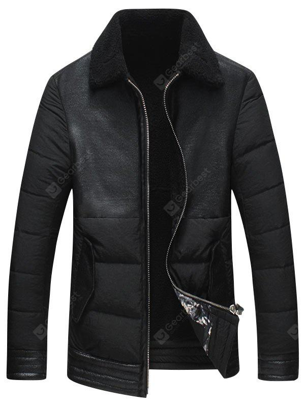 Borg Collar Faux Leather Panel Jacket