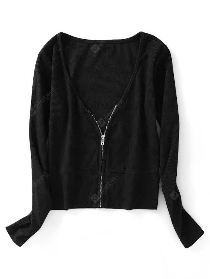 Zip Up Knitted Ribbed Top
