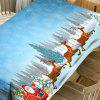 Snowfield Santa Sleigh Print Waterproof Fabric Christmas Table Cloth - CLOUDY