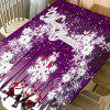 Santa Claus Snowflake Merry Christmas Print Waterproof Table Cloth - PURPLE