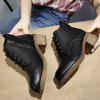 Buckled Round Toe Chunky Heel Ankle Boots - BLACK