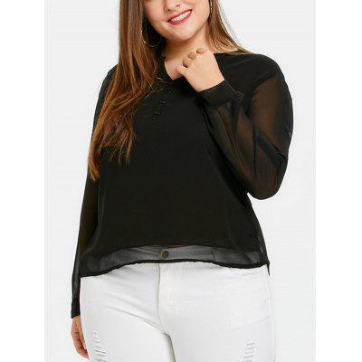 Plus Size Button Embellished Chiffon Blouse