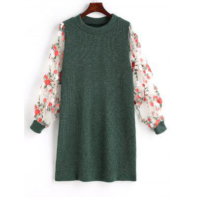 Buy GREEN L Mesh Panel Floral Mini Knit Dress for $24.99 in GearBest store