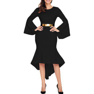 High Low Bell Sleeve Belted Dress