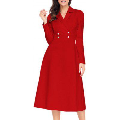 Button Lapel Collar A-line Midi Dress