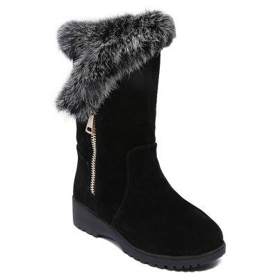 Side Zip Low Heel Mid Calf Snow Boots