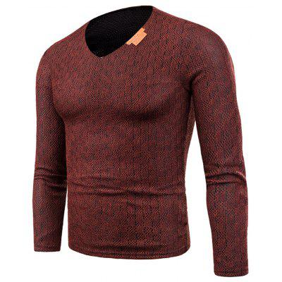 V Neck Knitted Long Sleeve Applique T-shirt