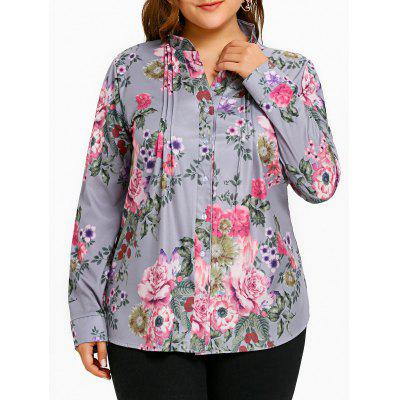 Plus Size Flower Print Pleated Blouse