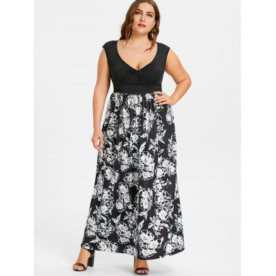 Floral Plus Size Empire Waist Maxi Dress floral printed empire waist dress with tube top