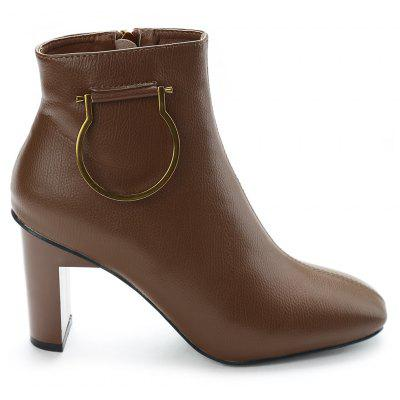 High Heel Metal Square Toe Boots