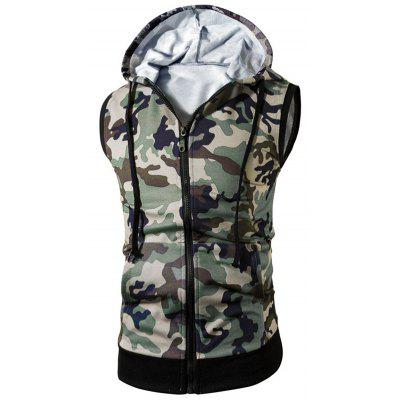 Kangaroo Pocket Zip Up Hooded Camo Vest