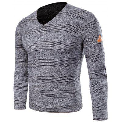 V Neck Knitted Long Sleeve T-shirt