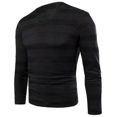 V Neck Knitted Stripe Fleece T-shirt