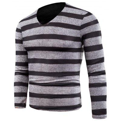 V Neck Knitted Long Sleeve Stripe T-shirt