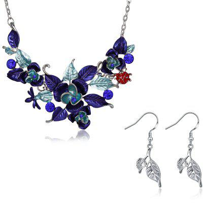 Flower and Leaves Shape Vintage Necklace and Earrings Set