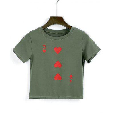 Heart Cropped Cotton T Shirt