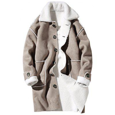 Borg Kragen Stickerei Wildleder Shearling Coat