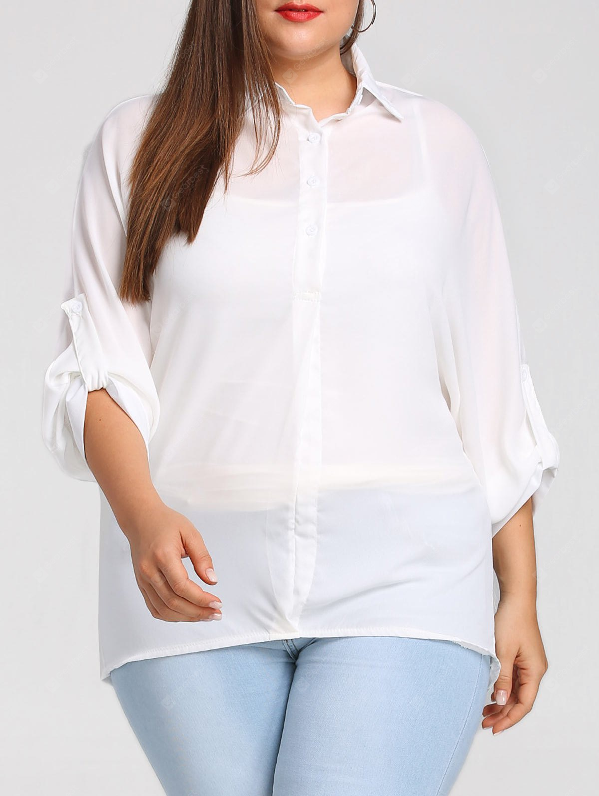 Plus Size Roll Up Sleeve Chiffon Blouse