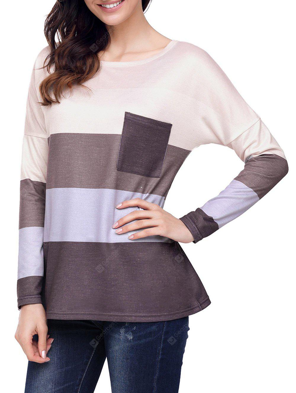 Color Blocking Long Sleeve Pocket Top