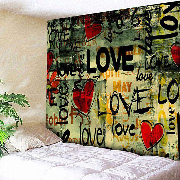 Love Heart Graffiti Stampa Wall Art Tapestry