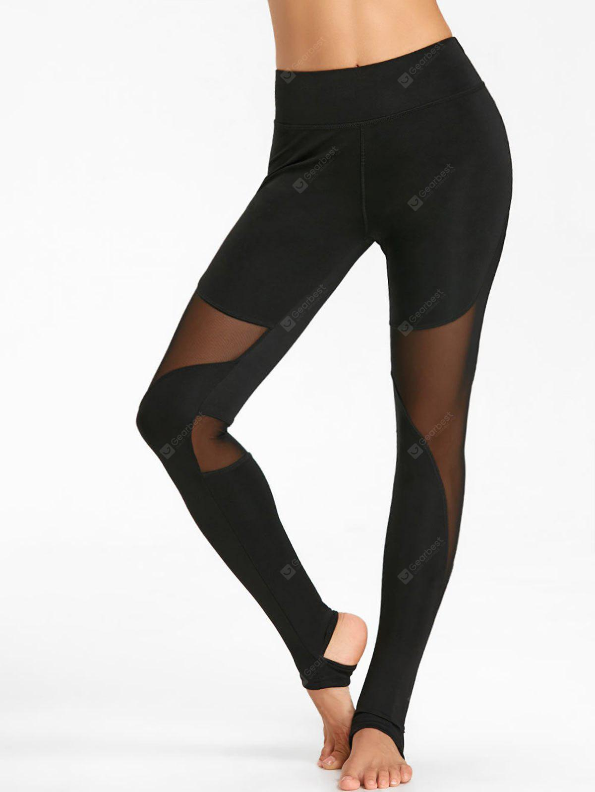 Sheer Workout Stirrup Leggings with Mesh Panel