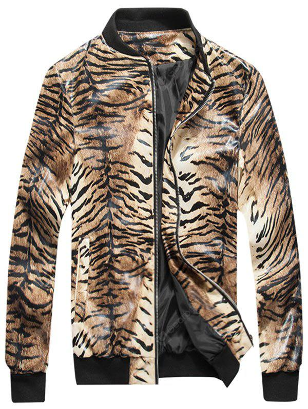 Giubbotto bomber in pelle Zip Up Tiger